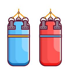 red and blue punching bag icons vector image