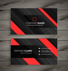red black business card stripes design vector image