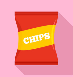 red chips pack icon flat style vector image