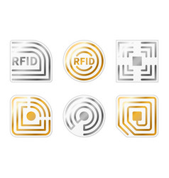 rfid tags golden silver radio chips icons vector image