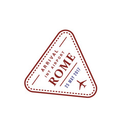 rome airport stamp isolated vector image
