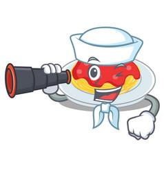 sailor with binocular spaghetti character cartoon vector image