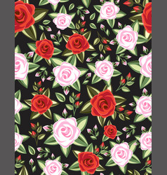 seamless floral roses pattern vector image