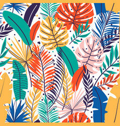 seamless hand drawn tropical leaves pattern vector image