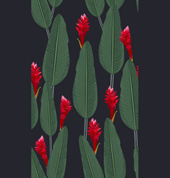 seamless pattern tropical leaves with red ginger vector image
