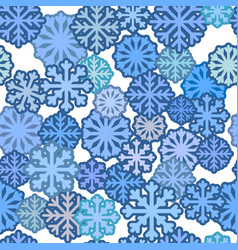 seamless pattern with blue snowflakes winter vector image
