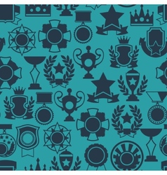 Seamless pattern with trophy and awards in flat vector