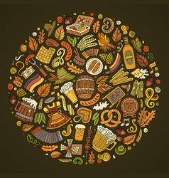set beer cartoon doodle objects symbols vector image