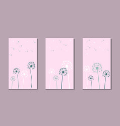 set dandelion lines on abstract backgrounds vector image