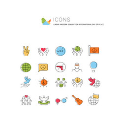 Set line icons international day peace vector