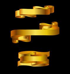 Set of golden banners vector