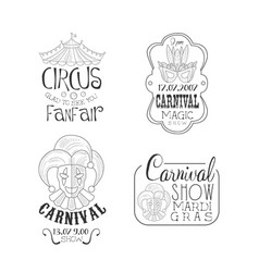 set of monochrome circus and mardi gras vector image