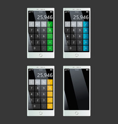 Set of smartphones with calculator empty display vector