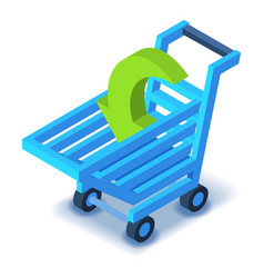 Shopping cart icon isometric style vector