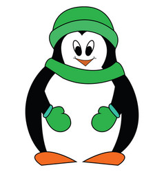 smiling penguine with green hat scarf and mittens vector image
