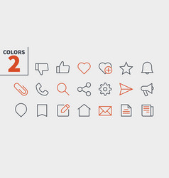 Social ui pixel perfect well-crafted thin vector