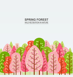 spring forest with pink red and green trees vector image