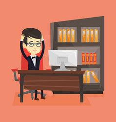 stressed employee working in office vector image