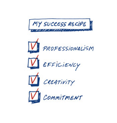 Success recipe list of requirements to achieve vector