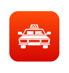 taxi car icon digital red vector image