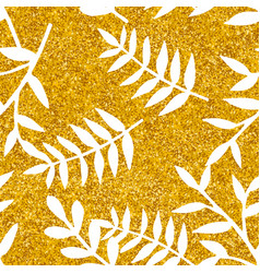 tile tropical pattern with white leaves on golden vector image