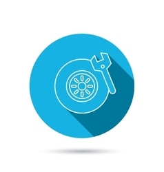Tire service icon Wheel and wrench key sign vector image