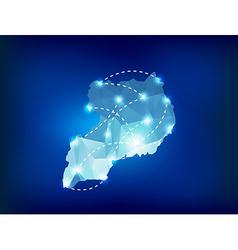 Uganda country map polygonal with spot lights vector