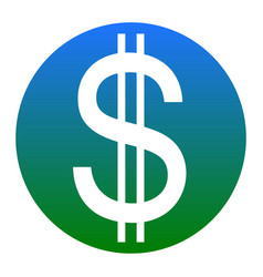 united states dollar sign white icon in vector image