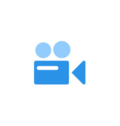 Video camera icon blue monochrome color vector