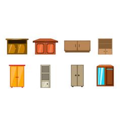 wardrobe icon set cartoon style vector image