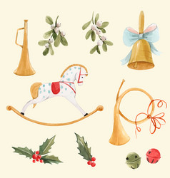 watercolor nice christmas set with baby vector image
