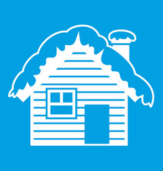 Wooden house covered with snow icon white vector