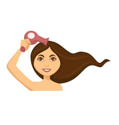 Young woman blow drying her long dark hair vector