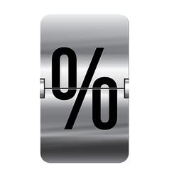 Alphabet silver flipboard letters percent vector image