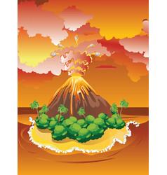 cartoon volcano eruption vector image