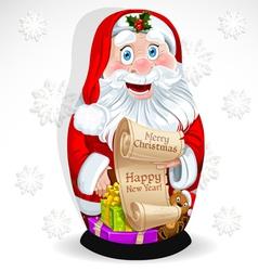 Doll Matrioshka Santa Claus with gifts vector image vector image