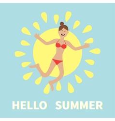 Hello summer woman wearing swimsuit jumping sun vector