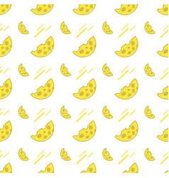 seamless pattern with cheese on a white background vector image vector image