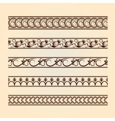 Set of classic floral lines vintage collection vector image