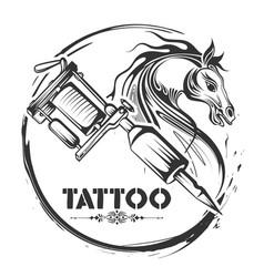 tattoo art design of horse line art style vector image