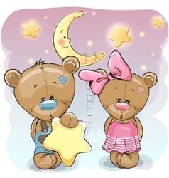 Teddy Bear Girl and Boy with a star vector image vector image