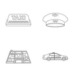 Yellow taxi inscription a cap with a taxi badge vector