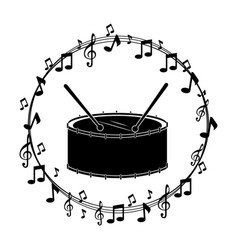 border musical notes with drump instrument musical vector image