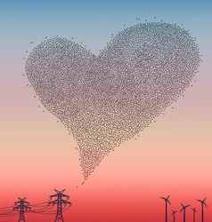 Flock of birds in heart shape vector image vector image