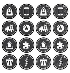 Web navigation icons on retro labels set vector image vector image