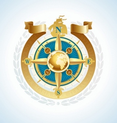 compass with globe and ribbon vector image