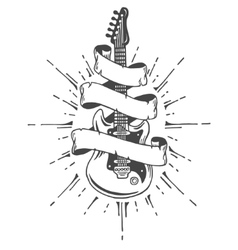 Hand drawn electric guitar with ribbon and text vector image