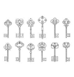 Vintage keys line icons vector image vector image