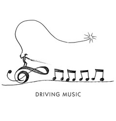 a whimsical cartoon called driving music vector image vector image