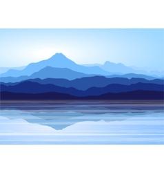 Blue mountains near lake vector